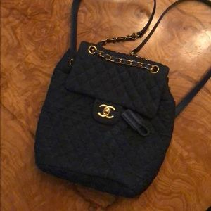 Handbags - Denim Backpack Gold Hardware